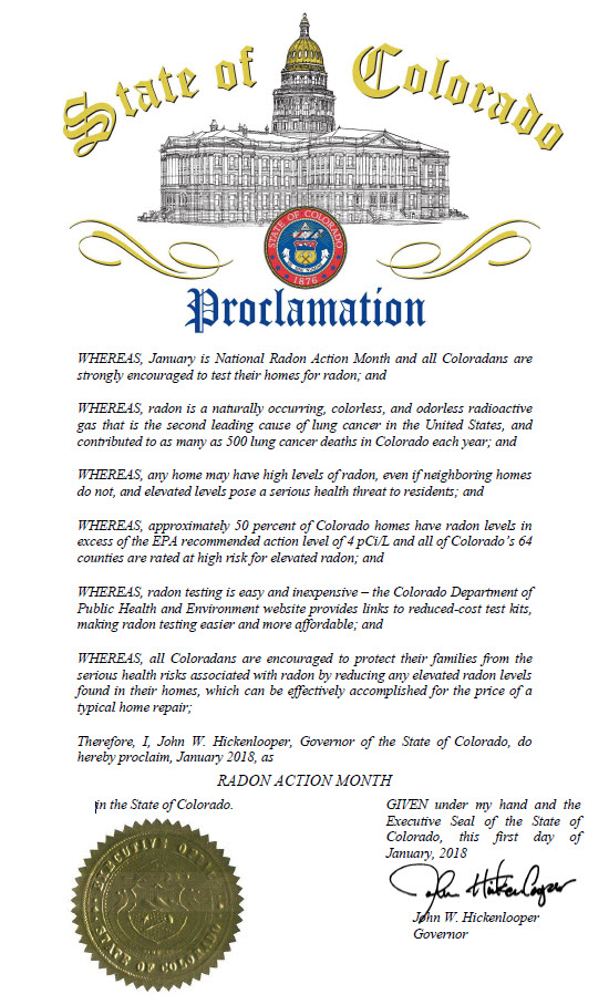Colorado Proclamation by Governor Hickenlooper, January 2018