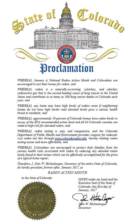 Colorado Proclamation by Governor Hickenlooper, January 2016